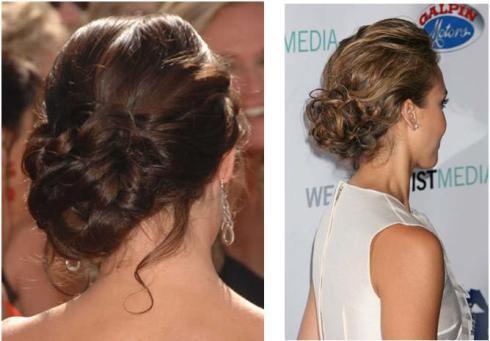 chignon hairstyle, jessica alba