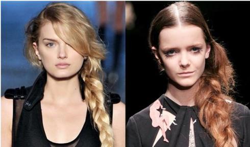 model with side braid hairdo
