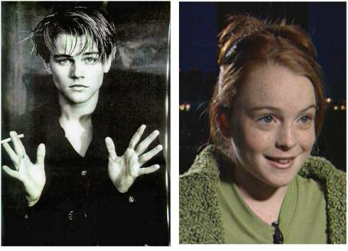 leo dicaprio and Lindsay Lohan young