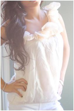 one shoulder top with ruffles from ecrater