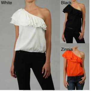 Michael Kors one shoulder top with ruffles