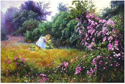 little girl smelling flowers in the middle of a big field of flowers